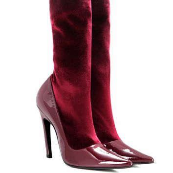 Velvet and patent leather boots