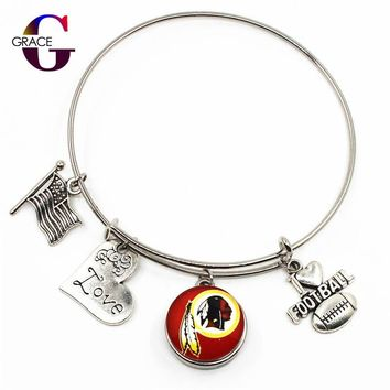 Washington Redskins Sports Charms Adjustable I Love Football Expandable Women Bangle Bracelets With Ginger Snaps Buttons Jewelry