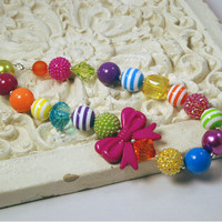 Girls Boutique necklace Rainbow Bow Chunky Beaded Necklace infant and baby necklace Fuchsia Bow