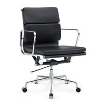Mid Century Modern Soft Conference Office Chair Mid Back Black Leather