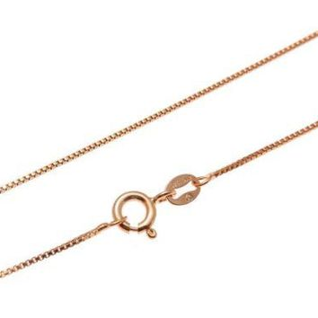 "1MM ITALIAN ROSE GOLD ON SILVER 925 BOX CHAIN NECKLACE 16"",18"",20"""
