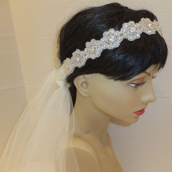 Wedding Headpiece, GABBY, Bridal Headpiece, Rhinestone veil, Rhinestone Headpiece, Flapper Headpiece, 20s Headpiece