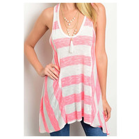 """Call Me Adorable"" Pink Striped Asymmetrical Hem Tank Top"