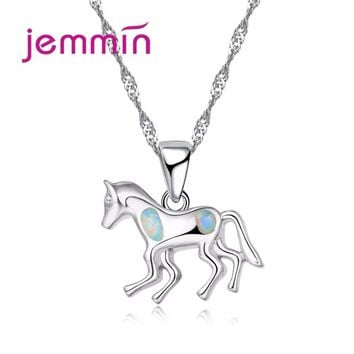 Jemmin 2017 New Promotion Cute Horse Silver Necklace with Sparkly Opal Stone Real 925 Sterling Silver Necklace Pendant for Women