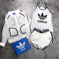 Adidas Fashion Casual Multicolor Clover Letter Print Vest Sunscreen Shirt Coat Set Three Piece Sportswear
