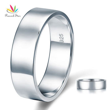 Peacock Star High Polished Men's Solid Sterling Solid 925 Silver Wedding Band Ring Jewelry CFR8056