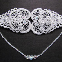 White Lace Hairpiece, Bridal Hair Chain, 1920s Headpiece, Wedding Hair Clip, Flapper Head Piece