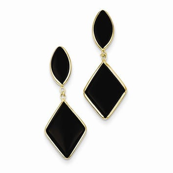 14k Yellow Gold Onyx Dangle Post Earrings
