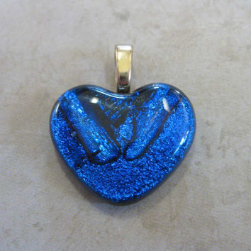 Blue Heart Pendant, Small Heart Pendant, Fused Glass Pendant, Couples Jewelry,  Large Gold Bail - Smolder - 3544 -2