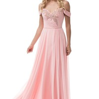 Lovely Off Shoulder Long Evening Dress