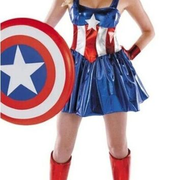 Female Superman's Uniform Halloween Superman Costume Party Dress (includ Headwear+gloves+stocking) = 1946667204