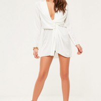 Missguided - Petite Exclusive White Satin Wrap Mini Dress