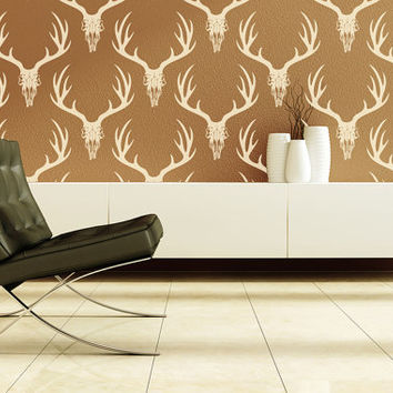 Wall Decal Animal Hunting Deer Horns Skull Nature Woodland Rustic Country