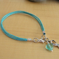 Teal Awareness Bracelet - Cotton - PTSD, Myasthenia Gravis, Ovarian Cancer, Scleroderma, Tourette Syndrome & More