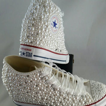 Wedge Bridal Converse- Wedding Converse- Bling & Pearls Custom Converse Sneakers- Personalized Chuck Taylors- All Star Converse Sneakers
