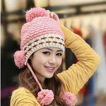 BomHCS Cute Winter Warm Wool Handmade Knit Hat Women Lady Ear Muff Three Balls Knitted Hat Fashion Cap Beanie