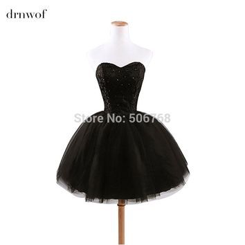 2017 new arrival elegant fashion princess sweetheart beading fashion women Little Black prom dress Color Red White Black