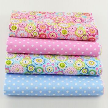 4PCS/lot 40cmx50cm Floral Dots Patterns Cotton Fabric Bundle Quilting Patchwork Sewing Clothes Bedding
