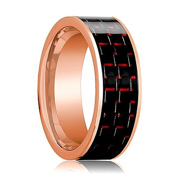 Flat Polished 14k Rose Gold Men's Wedding Band with Black and Red Carbon Fiber Inlay - 8MM