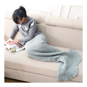 Mermaid Tail Blanket Throw Nap Gift Child   blue    60*140cm