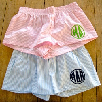 Sorority- Greek Letter Seersucker Pajama Shorts
