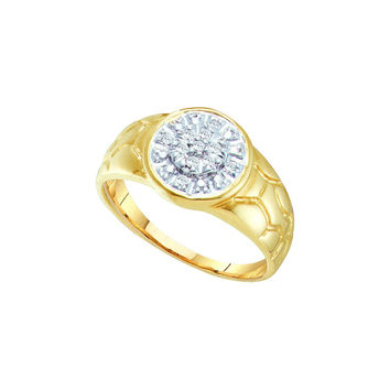 10kt Yellow Gold Mens Round Diamond Cluster Nugget Ring 1/8 Cttw 13100