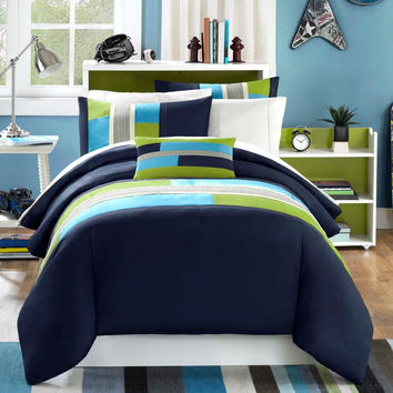 Twin / Twin XL size Comforter Set in Navy Khaki Teal and Green