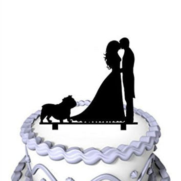 Meijiafei Kissing Bride and Groom with Pug Dog Silhouette Wedding Acrylic Cake Topper