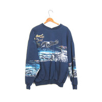 Vintage WILDLIFE sweatshirt BALD EAGLE blue pullover Grunge sweater Hipster Punk boyfriend Tomboy bird endangered animal coed Xl