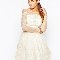 Chi Chi London Long Sleeve Premium Lace Mini Prom Skater Dress