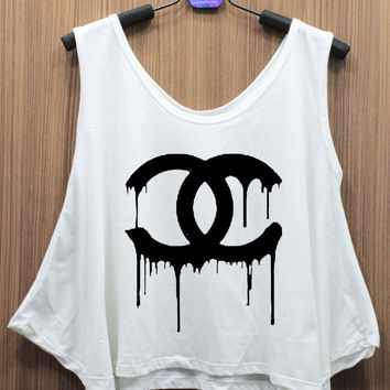 CHANEL CoCo Chanel Dripping Tank Top Mid riff Crop Top women shirt handmade