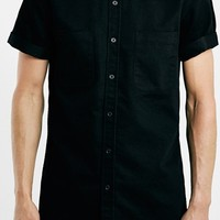 Men's Topman Trim Fit Short Sleeve Washed Denim Shirt,