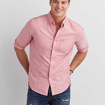 AEO Solid Button Down Shirt, Washed Red