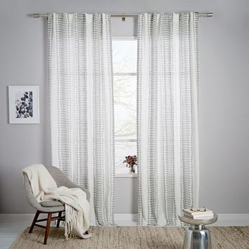 Striped Ikat Curtain - Platinum