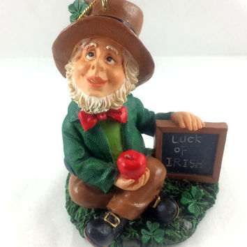Irish Santa Ornament - Luck of the Irish - Ceramic - Vintage 1980 - Gold String Hanger - Holiday Decor - Christmas Decoration