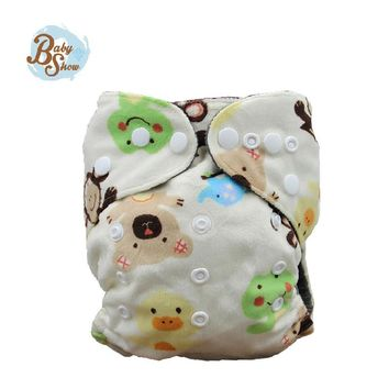 Babyshow 2016 New Arrival Minky Bamboo Charcoal Diaper Insert Nappy Washable Minky Cloth Merries Printed Double-breasted Diapers