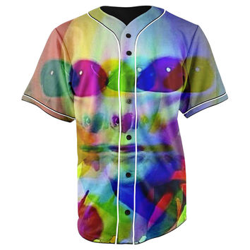 Trippy Alien Blue Button Up Baseball Jersey