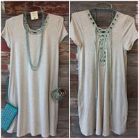 Pure Bliss Lace Up Pocket Dress