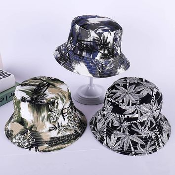 LDSLYJR 2018 Tropical forest print Bucket Hat Fisherman Hat outdoor travel hat Sun Cap Hats for Men and Women 246