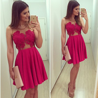 Red Mosaic Lace V-neck Hot Sale Christmas One Piece Dress = 4806548740