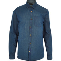 River Island MensBlue denim long sleeve shirt