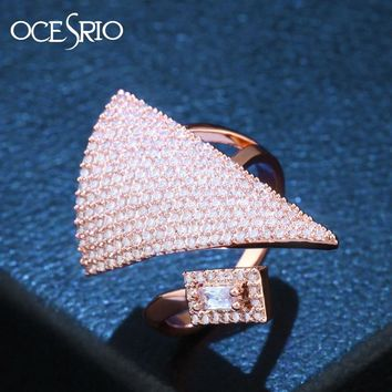 OCESRIO Brand Luxury Rose Gold Ring Zircon CZ Big Open Adjustable Cocktail Costume Jewellery Rings Women Jewelry rig-f92