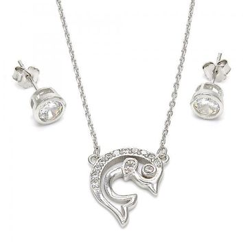 Sterling Silver 10.186.0012 Necklace and Earring, Dolphin Design, with White Cubic Zirconia, Polished Finish, Rhodium Tone