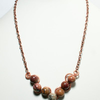 Copper and Red Creek Jasper Stone Necklace with Copper chain; your choice of chain length