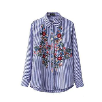 VOND4H New Casual Floral Embroidery Blouse Cotton Women Fashion Striped Shirt Turn-down Blue Long Blouse Shirt Casual Blusas Female