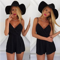 Black Ruffled V-Neck Romper