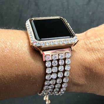 Rose Gold Apple Bangle Cuff Watch Band Large Rhinestones Crystals 38mm/40mm 42mm/44mm Series 1,2,34/Case Cover Bezel 3mm Lab Diamonds Bling