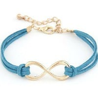 Infinite blue braided rope bracelet
