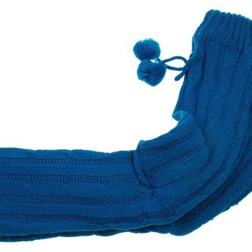 Blue Turquoise Slipper Boots with Grippers Tall Sweater Pom Poms Non slip Choice