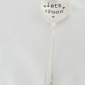 Let's spoon- soup spoon- hand stamped engagement gift - valentine's day gift